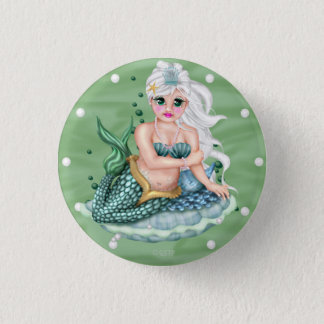 GREEN MERMAID CARTOON  Button small