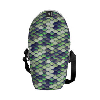 green mermaid skin pattern courier bag