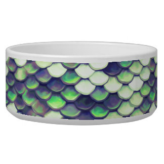 green mermaid skin pattern dog bowls
