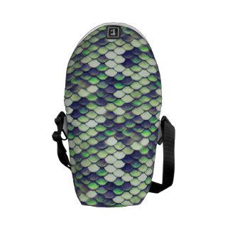 green mermaid skin pattern messenger bag