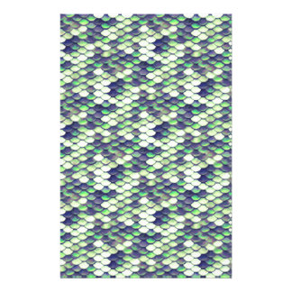 green mermaid skin pattern stationery