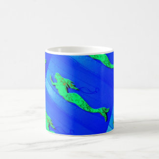 green mermaid swimming blue coffee mug