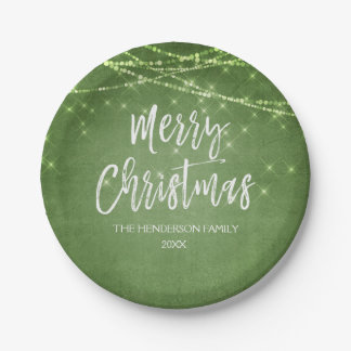 Green Merry Christmas String Lights Paper Plate