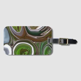 """Green metal abstract"" luggage tag"