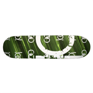 Green metal lights abstract text 18.1 cm old school skateboard deck
