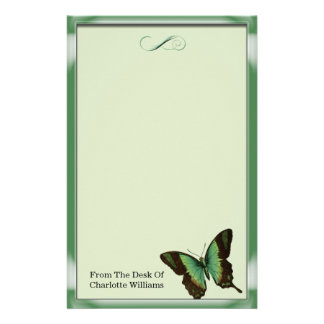 Green Metallic Butterfly Personalised Stationery