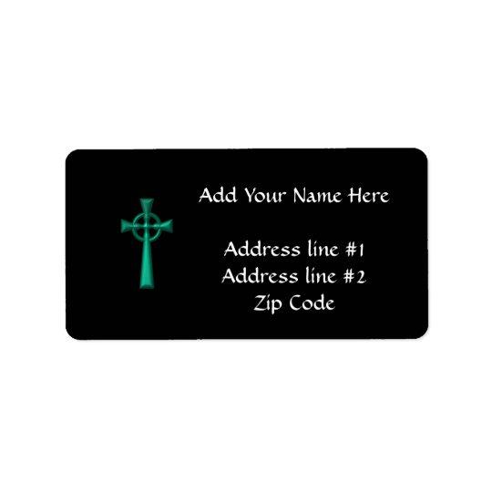 Green Metallic Celtic Cross Address Label