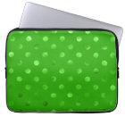 Green Metallic Faux Foil Polka Dot Background Laptop Sleeve