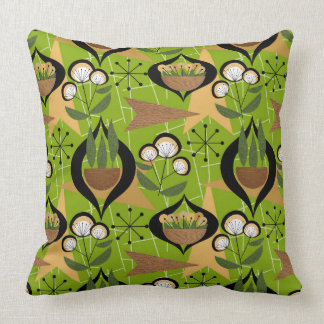 Green Mid-Century Style | Plants in Pots | Throw Pillow