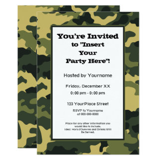Green Military Camouflage Party Card