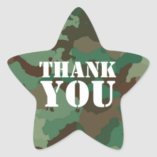 Green Military Camouflage Thank Star Envelope Seal Star Sticker