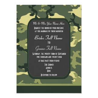 Green military camouflage wedding 14 cm x 19 cm invitation card
