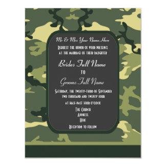 Green military camouflage wedding announcement