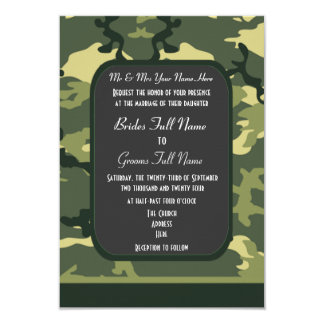 Green military camouflage wedding personalized invitation