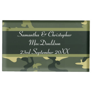 Green military camouflage  wedding table card holders