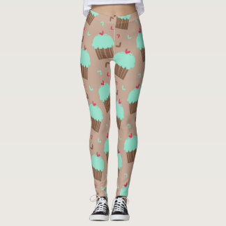 Green Mint Cupcake Leggings