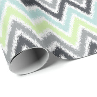 Green Mint Gray Zigzags Ikat Pattern Wrapping Paper