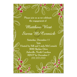 "Green Mistletoe Holiday Engagement Party 4.5"" X 6.25"" Invitation Card"