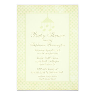 Green mobile faded polkadot baby shower invitation