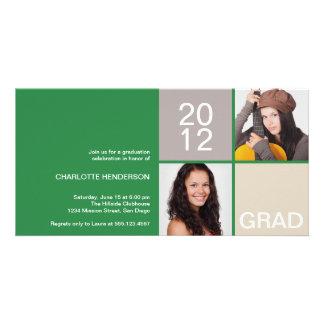 Green modern block class of grad announcement photo card