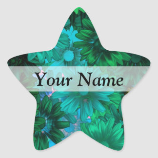 Green modern floral star sticker