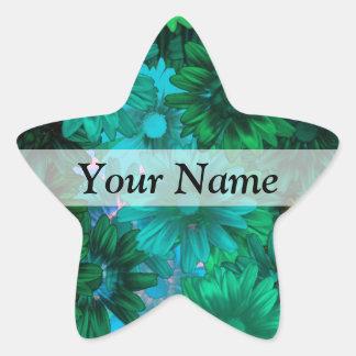 Green modern floral star sticker