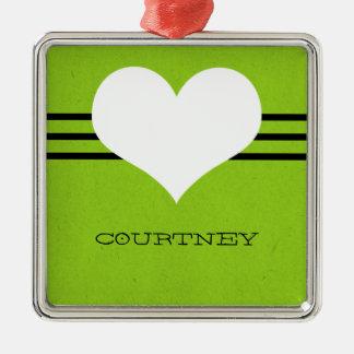 Green Modern Heart Ornament