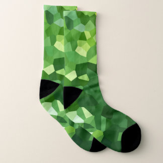 Green Modern Shapes Stained Glass Mosaic Abstract Socks