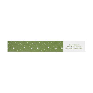 Green Modern Sparkles and Dots Pattern Wrap Around Label