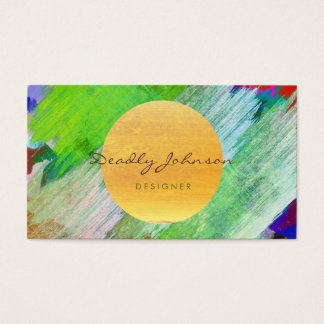 Green Modern Watercolor Abstract Elegant Cool Business Card