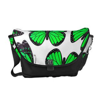 Green Monarch Butterfly Pattern Commuter Bags