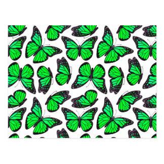 Green Monarch Butterfly Pattern Postcard