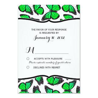 Green Monarch Butterfly Wedding RSVP 9 Cm X 13 Cm Invitation Card