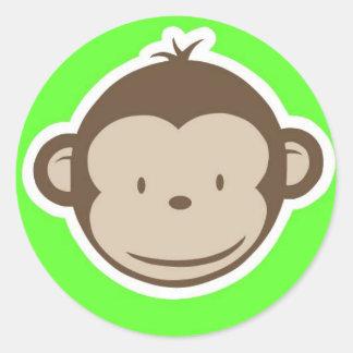 Green Monkey Round Sticker