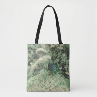 Green Monochromatic Flowers Monarch Butterfly Tote Bag