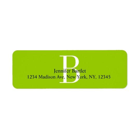 Green Monogram B Return Address Labels