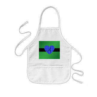 Green monogram blue roses apron