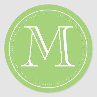Green Monogram Envelope Seal by Origami Prints Round Sticker