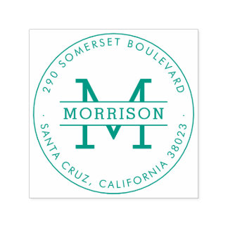 Green Monogram & Family Name Round Return Address Self-inking Stamp