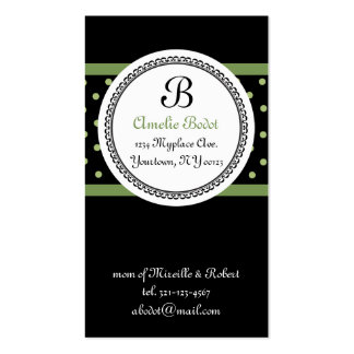 green MONOGRAM mommy calling card Business Card Template