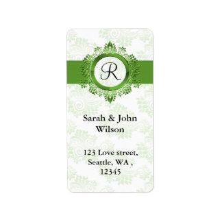 green monogram return address label