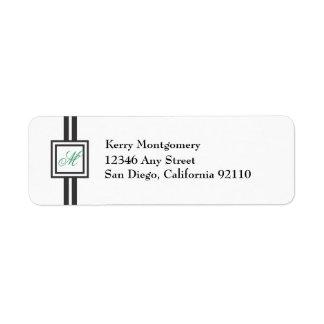 Green Monogram Striped Return Address Label