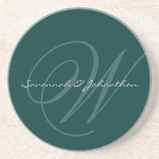 Green Monogram Wedding Anniversary Coasters
