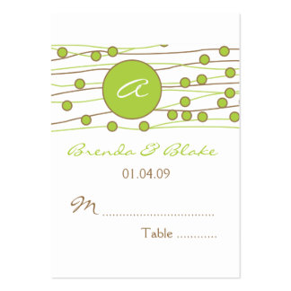 Green Monogram Wedding Table Seating Cards Business Card Template