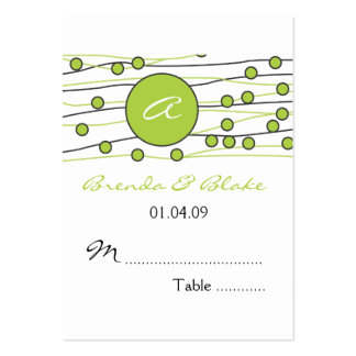 Green Monogram Wedding Table Seating Cards Business Cards