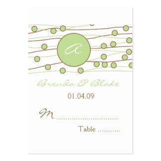Green Monogram Wedding Table Seating Cards Pack Of Chubby Business Cards