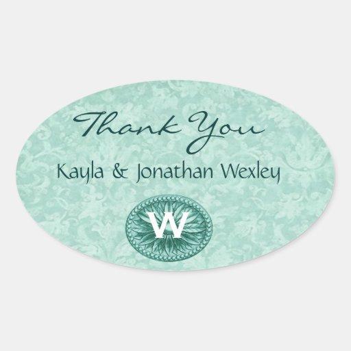 Green Monogram Wedding Thank You G200 Oval Sticker