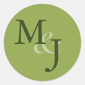 Green Monogrammed Personal Envelope Seals Round Sticker