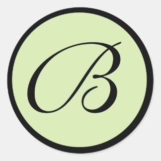 Green Monogrammed Wedding Envelope Seals Round Sticker