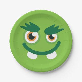 Green Monster Face Paper Plate